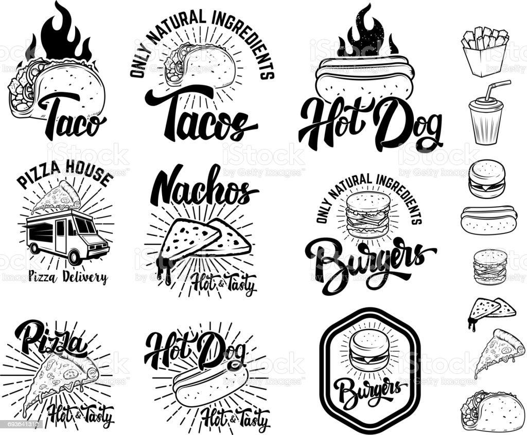 Set of fast food emblems. Taco, hot dog, nachos, burgers, pizza. Design elements for label, emblem, sign, menu. Vector illustration vector art illustration
