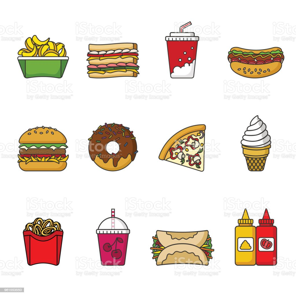 Set Of Fast Food Icons Drinks Snacks And Sweets Colorful
