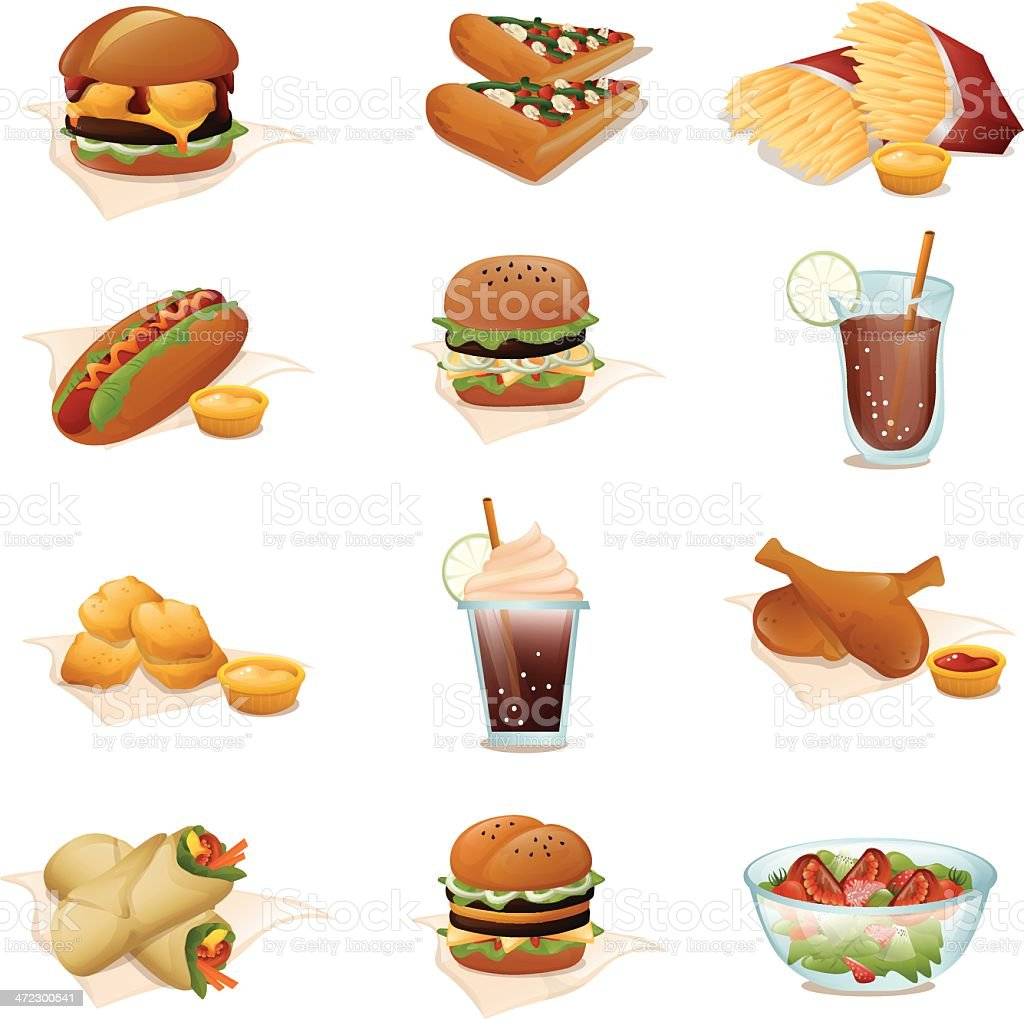 Set of fast food icons. vector art illustration