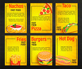 Set of fast food shop menu pages.Collection of fries,pizza,hot dog,burger,nachos,taco flyers, banners for cafeteris,restaurant.Posters for truck advertise.Template for your design.Vector illustration.