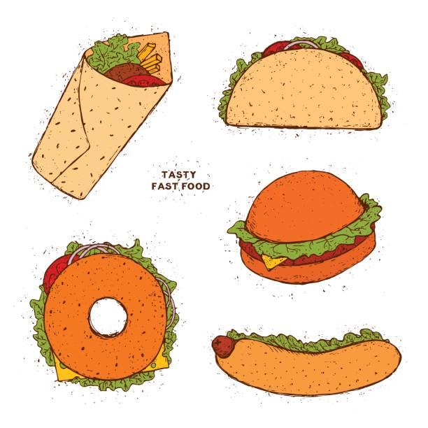 satz von fast-food. taco, hot-dog, hamburger, kebab, donut. handgezeichnete farbige doodle abbildung. - döner stock-grafiken, -clipart, -cartoons und -symbole