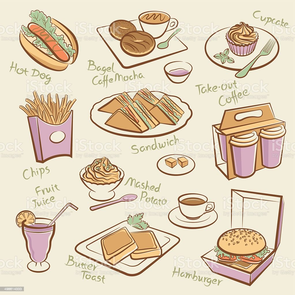 Set of fast food. vector art illustration