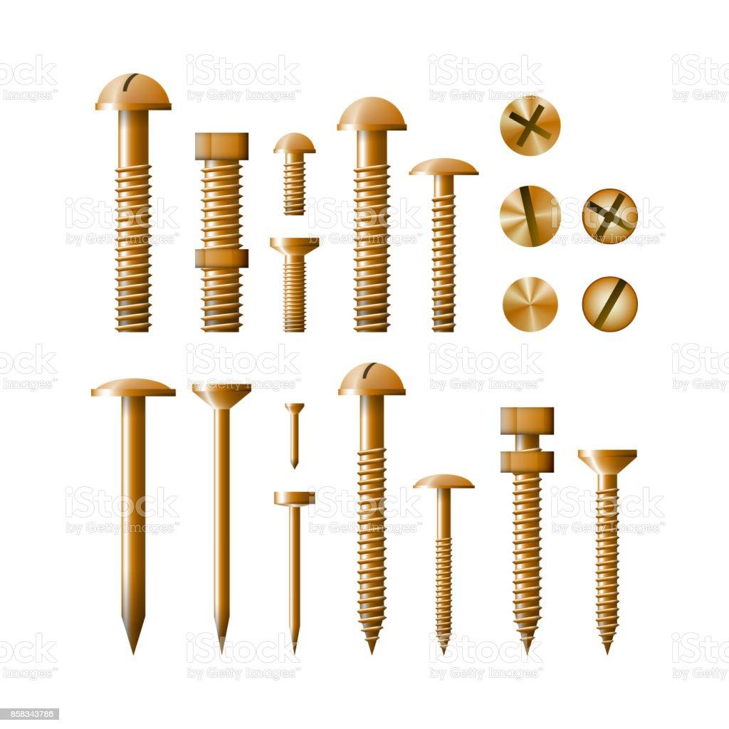 Set of fasteners Golden color vector illustration. vector art illustration