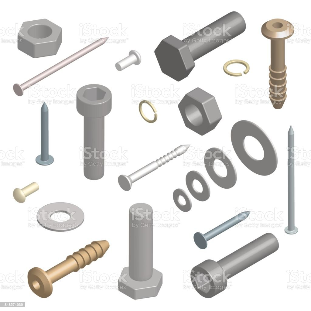 Set of fasteners in 3D, vector illustration. - Grafika wektorowa royalty-free (Biznes finanse i przemysł)