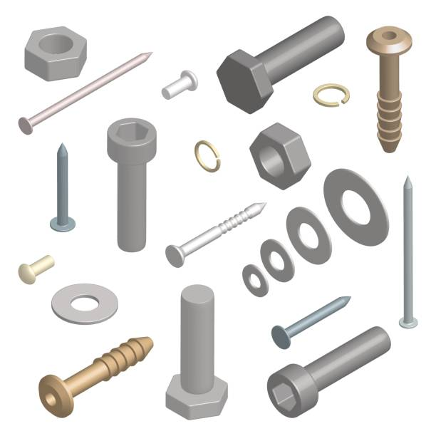Set of fasteners in 3D, vector illustration. Set of different fasteners isolated on white background. 3D isometric style, vector illustration. nail work tool stock illustrations
