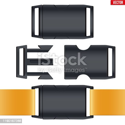 Set of fastex semi-automatic clip. Fastener plastic buckle. Equipment accessory for backpack and bag. Vector Illustration isolated on white background.