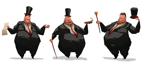 stockillustraties, clipart, cartoons en iconen met set of fat businessmen - guy with cigar