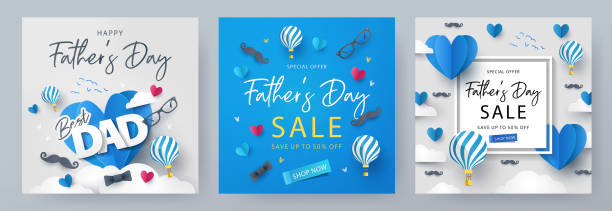 Set of Father's Day greeting cards in modern paper cut style. Fathers Day holiday illustration Set of Father's Day greeting cards in modern paper cut style. Fathers Day holiday illustration for greeting banner, fashion ads, poster, flyer, social media, promotion and sale fathers day stock illustrations