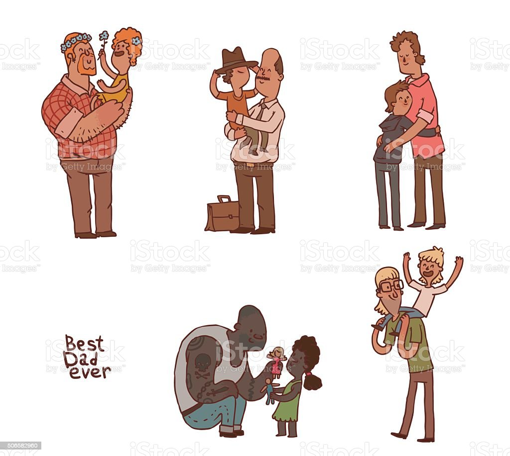 Set of fathers with their children vector art illustration