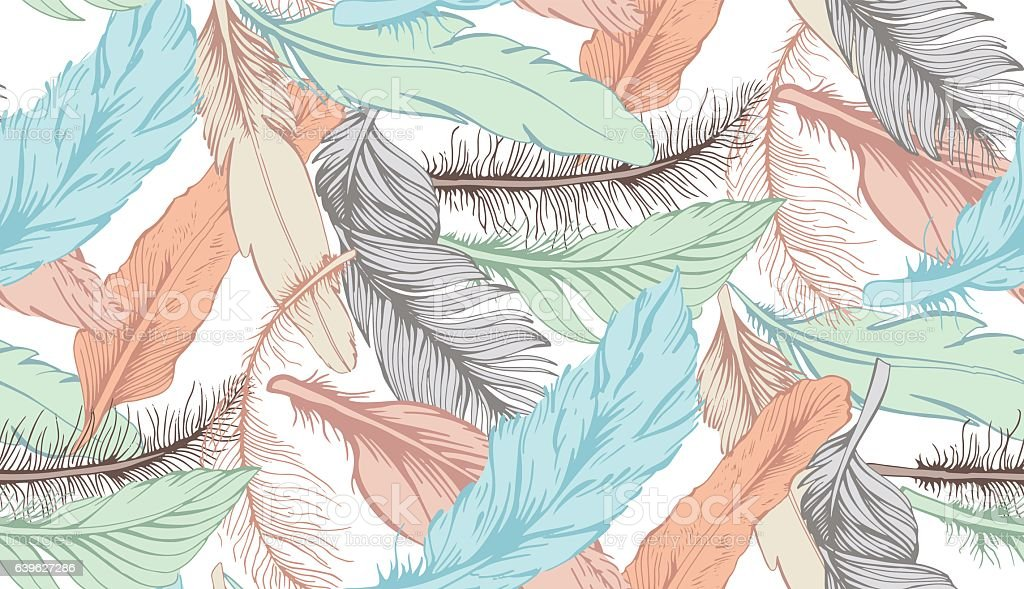 set of feather vector art illustration