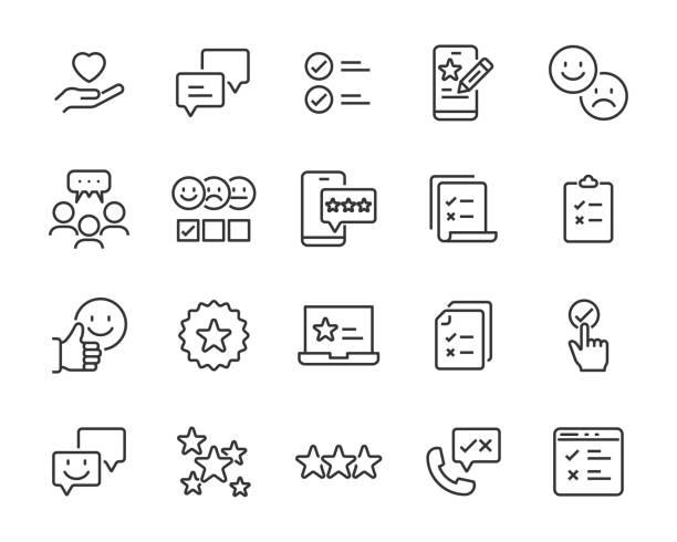 zestaw ikon opinii, opinii klientów, badań marketingowych, przeglądu produktu - obsługa stock illustrations