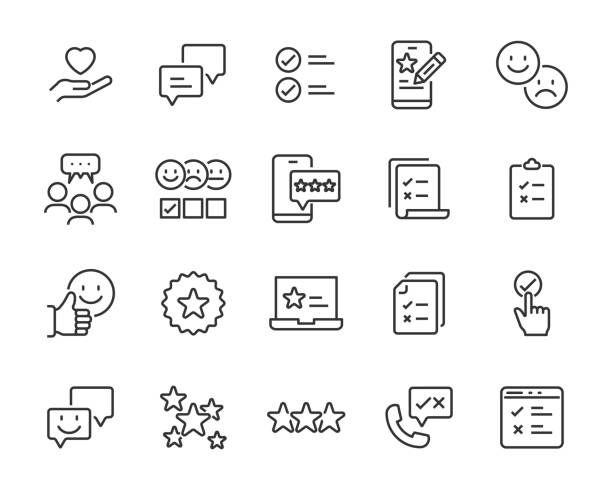 set of feedback icons, customer opinion, marketing research, review product - evaluation stock illustrations