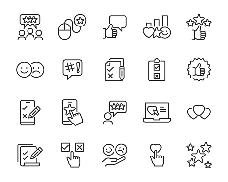 Set Of Feedback Icons Research Comment Review Customer Survey Social Media Stock Illustration Download Image Now Istock