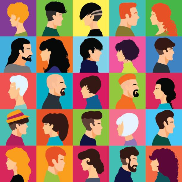 ein set von weiblichen und männlichen heads. - kindergesichtsfarben stock-grafiken, -clipart, -cartoons und -symbole