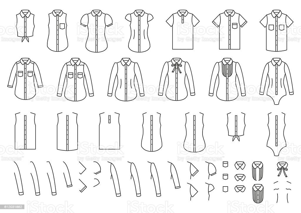 Set of female and male shirts, elements for combining - ilustración de arte vectorial