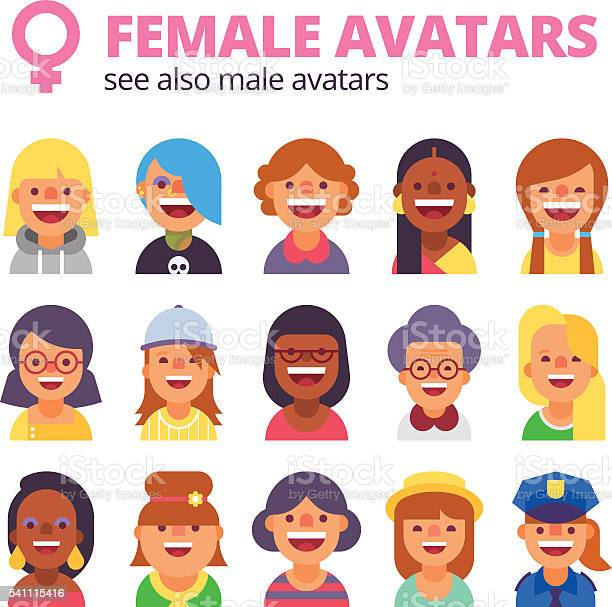 Set of female avatars see also male collection vector id541115416?b=1&k=6&m=541115416&s=612x612&h=wvehckctjdrf1xumufppwwe 6y giverhx8gyyak49o=