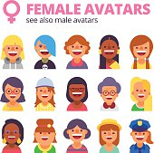 Set of female avatars. See also male collection.