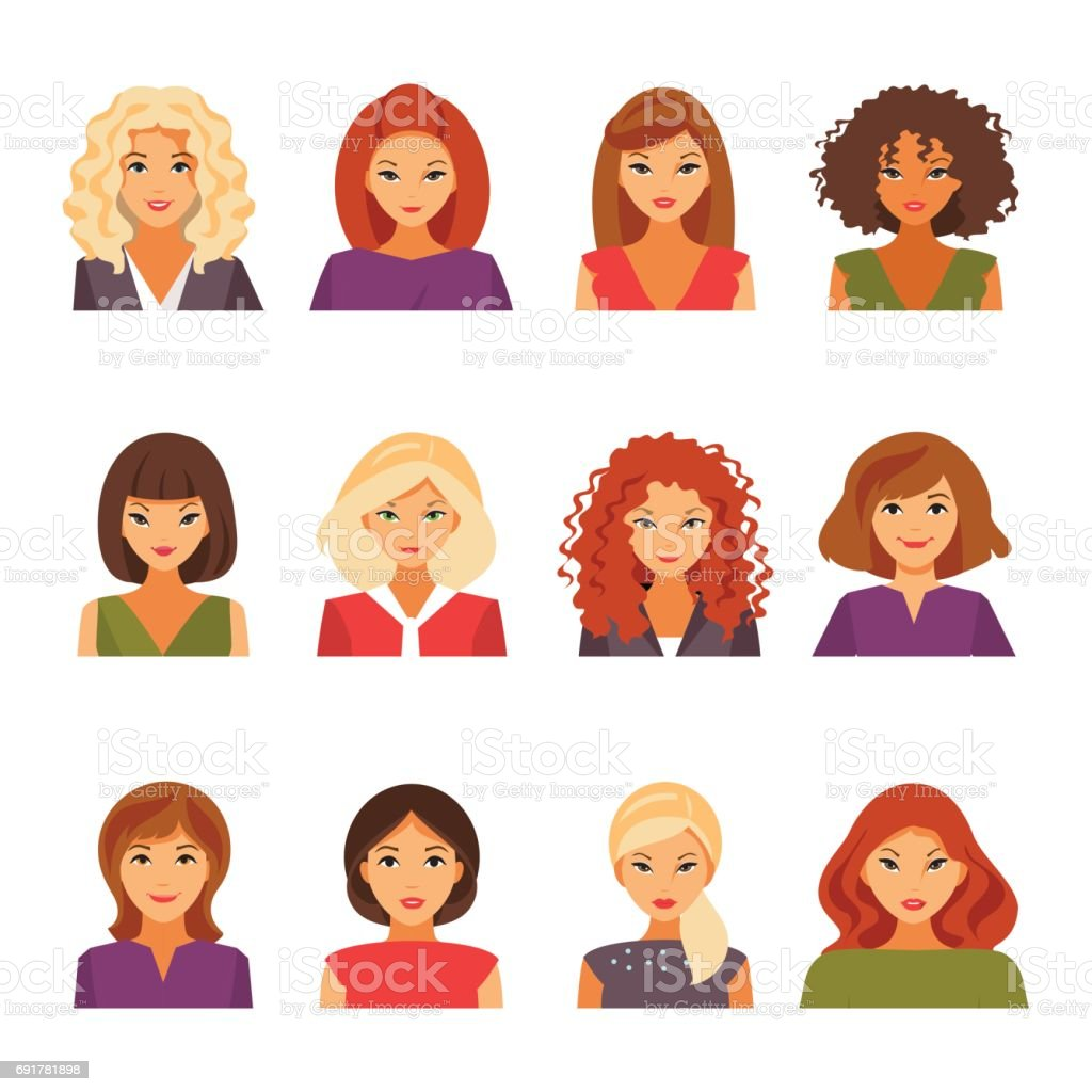 Set of female avatars vector art illustration