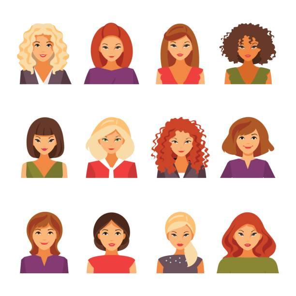 set of female avatars - redhead stock illustrations