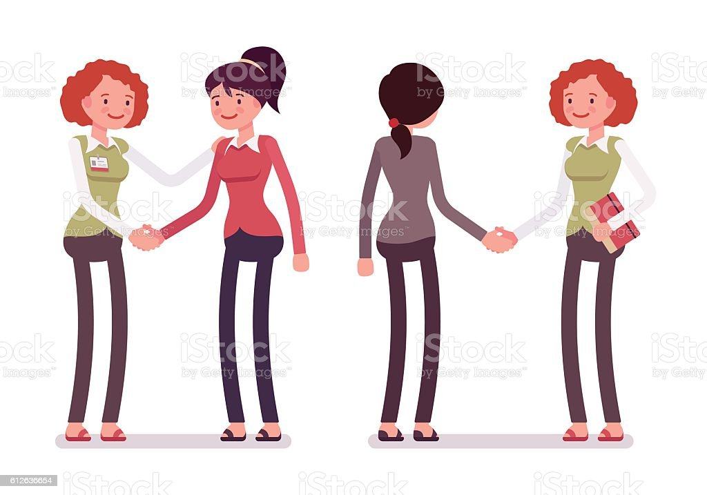 Set of female characters in a casual wear handshaking – Vektorgrafik
