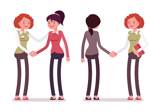 set of female characters in a casual wear handshaking - business casual fashion stock illustrations