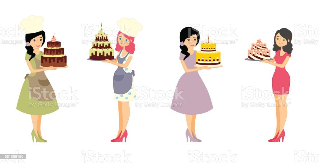 Set of female characters with a cake. Beautiful housewife, woman master baker holding a delicious pie. Vector illustration in a flat style royalty-free set of female characters with a cake beautiful housewife woman master baker holding a delicious pie vector illustration in a flat style stock vector art & more images of adult