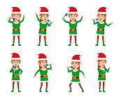 Cheerful elf girl karaoke singing. Flat style vector illustration