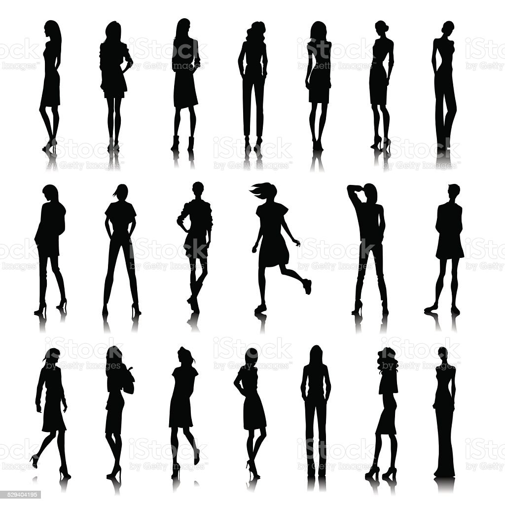 Set of female clothes vector art illustration