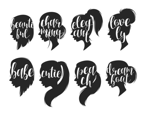Set of female elegant silhouettes with different hairstyles and calligraphy Set of female elegant silhouettes with different hairstyles and calligraphy. Calligraphic compliments. Female profile with compliments for the design of printed materials and web design female animal stock illustrations