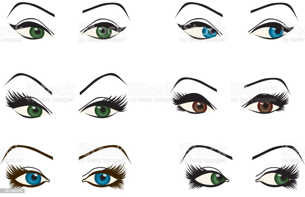 set of female eyes of different shapes and colors vector art illustration