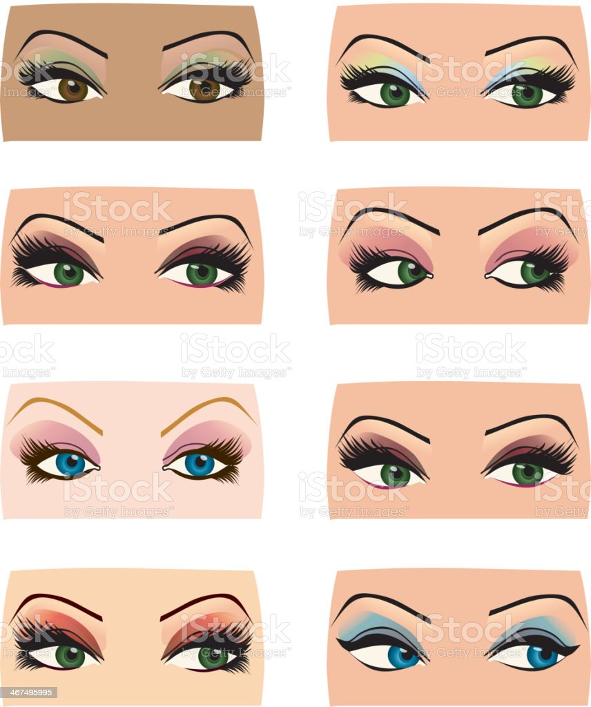 Set Of Female Eyes Of Different Shapes And Makeup Colors Stock