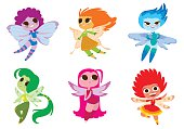Vector set of cartoon images of cute female fairies with big eyes, butterfly wings and with different hair color on a white background. Made in a flat style. Positive characters. Vector illustration.