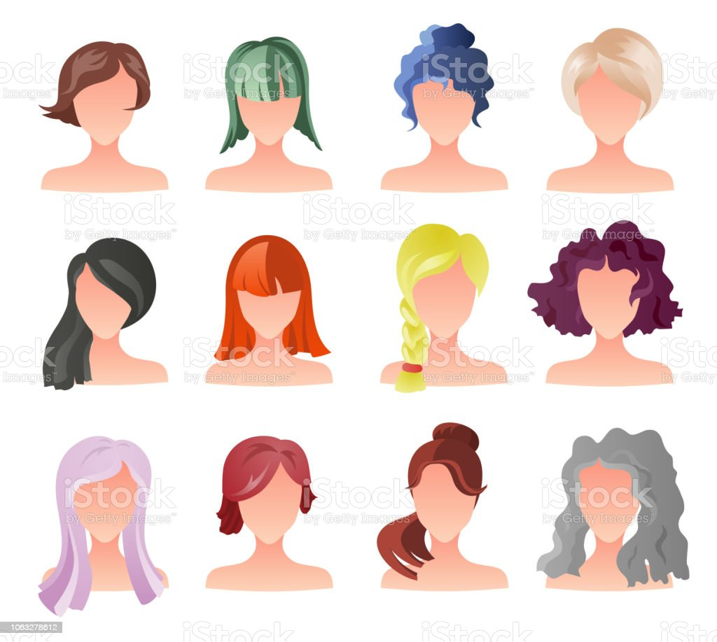 Set Of Female Hair Style Sprites Vector Game Design For App Vector