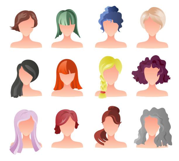 stockillustraties, clipart, cartoons en iconen met het aantal vrouwelijke haar stijl sprites. vector game-design voor app. vector meisje avatars - curly brown hair