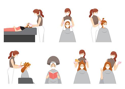 Set Of Female Hairdresser Wearing Surgical Mask Doing Hair For Customer In Hair Salon