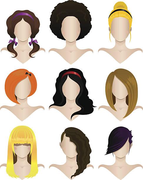 Set of female hairstyles vector art illustration