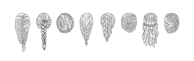 Set of female hairstyles with braids sketch vector illustration isolated.