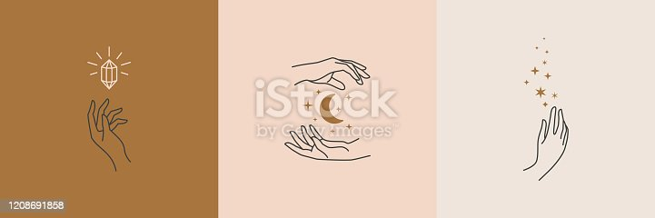 istock A set of female hand logos in a minimal linear style. Vector logo with different hand gestures, moon, stars and Crystal. 1208691858