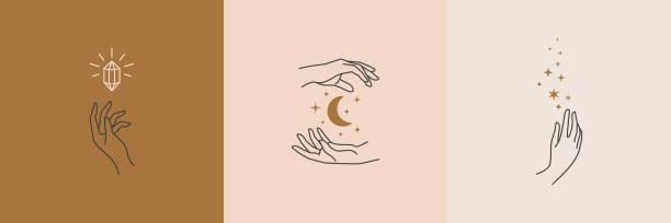 zestaw żeńskich logo dłoni w minimalnym stylu liniowym. logo wektora z różnymi gestami dłoni, księżycem, gwiazdami i kryształem. - ręka człowieka stock illustrations