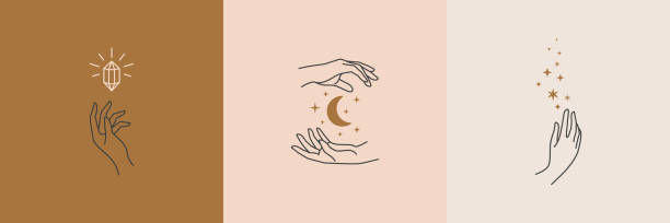 a set of female hand logos in a minimal linear style. vector logo with different hand gestures, moon, stars and crystal. - massage stock illustrations