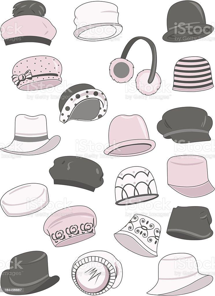 Set of female hats vector art illustration