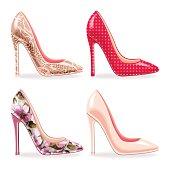 Set of female high heeled shoes