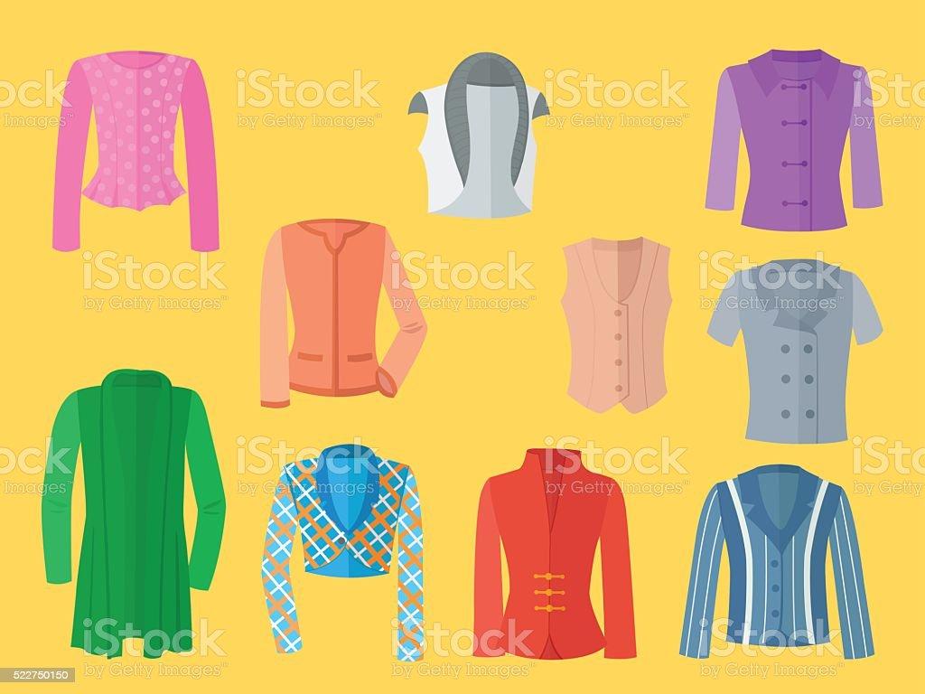 Ein Satz von weiblichen Jacken – Vektorgrafik