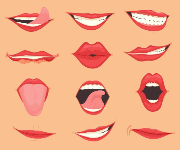 stockillustraties, clipart, cartoons en iconen met set van vrouwelijke lippen met verschillende mond emoties en uitdrukkingen. vector illustratie - verleiding