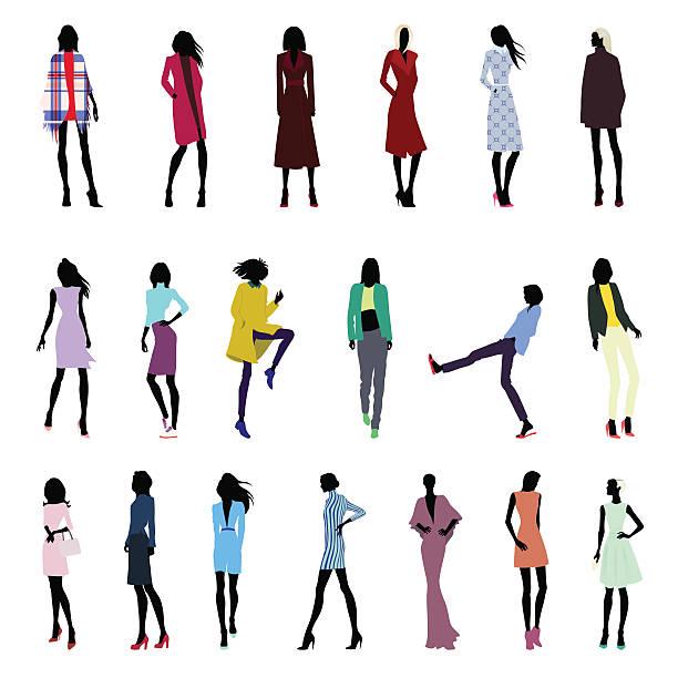 satz von frauen posen - couture stock-grafiken, -clipart, -cartoons und -symbole