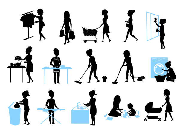 ilustrações de stock, clip art, desenhos animados e ícones de set of female silhouette graphics at  housework, household.woman cooking baking cleaning washing floor windows dishes, makes laundry, iron, shopping, play teach walk with kid, home chores - desperdício alimentar