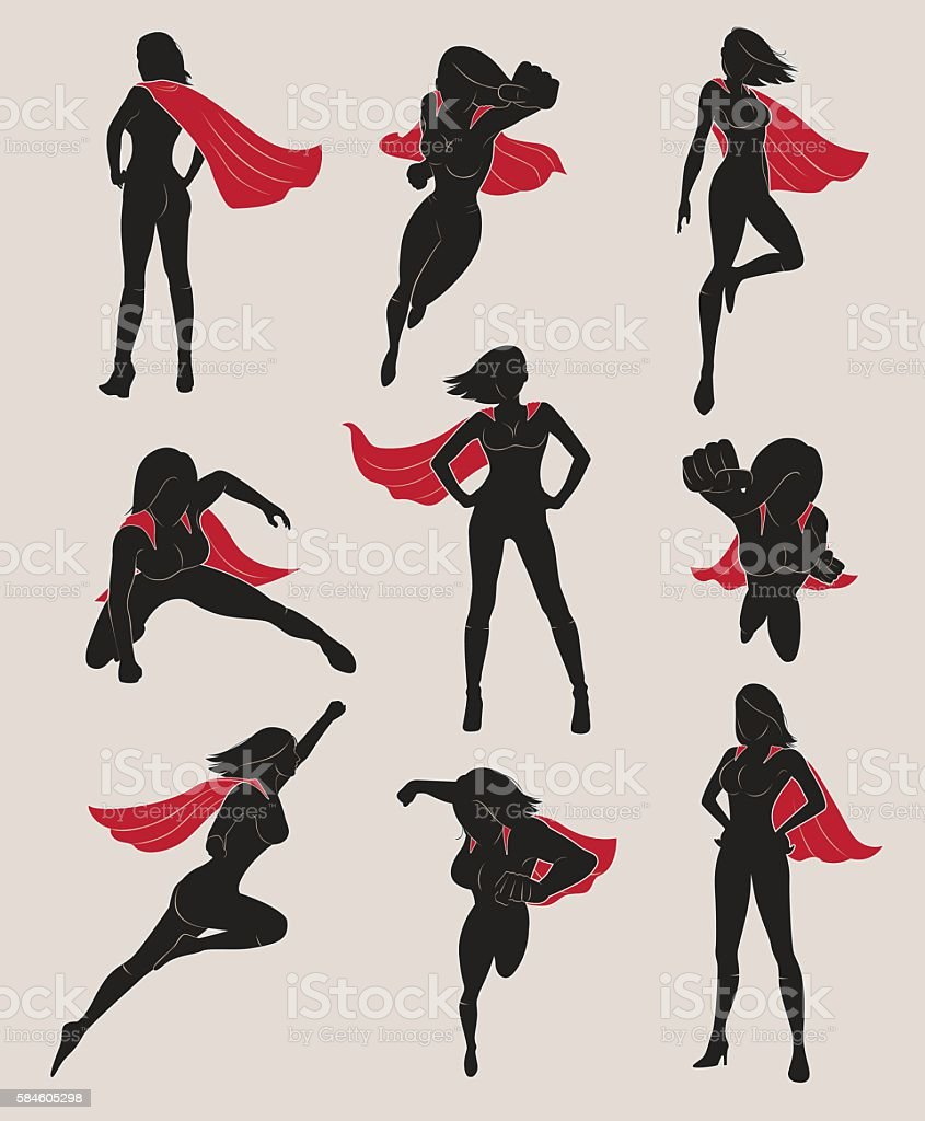 Set of Female Superhero. Black and Red Color. vector art illustration