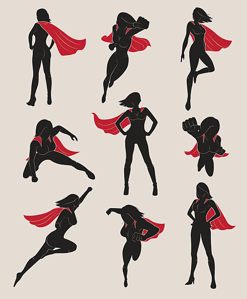 set of female superhero. black and red color. - superhelden stock-grafiken, -clipart, -cartoons und -symbole