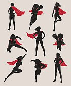 Set of Female Superhero. Black and Red Color.