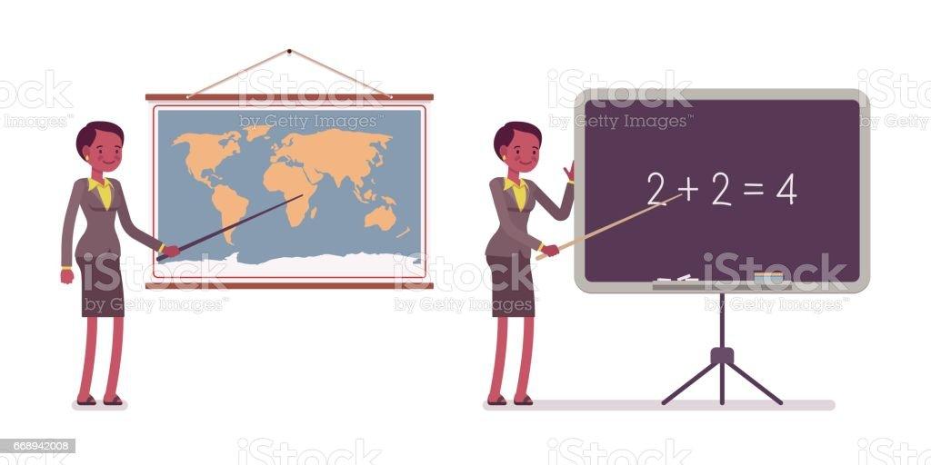 Conjunto de professor fêmea perto do mapa, quadro-negro - ilustração de arte em vetor